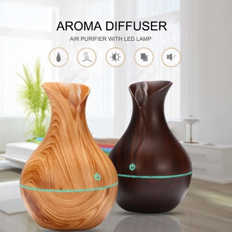 Car Humidifier Electric Aroma Air Diffuser Wood Ultrasonic Air Humidifier Essential Oil Aromatherapy Cool Mist Maker For Car