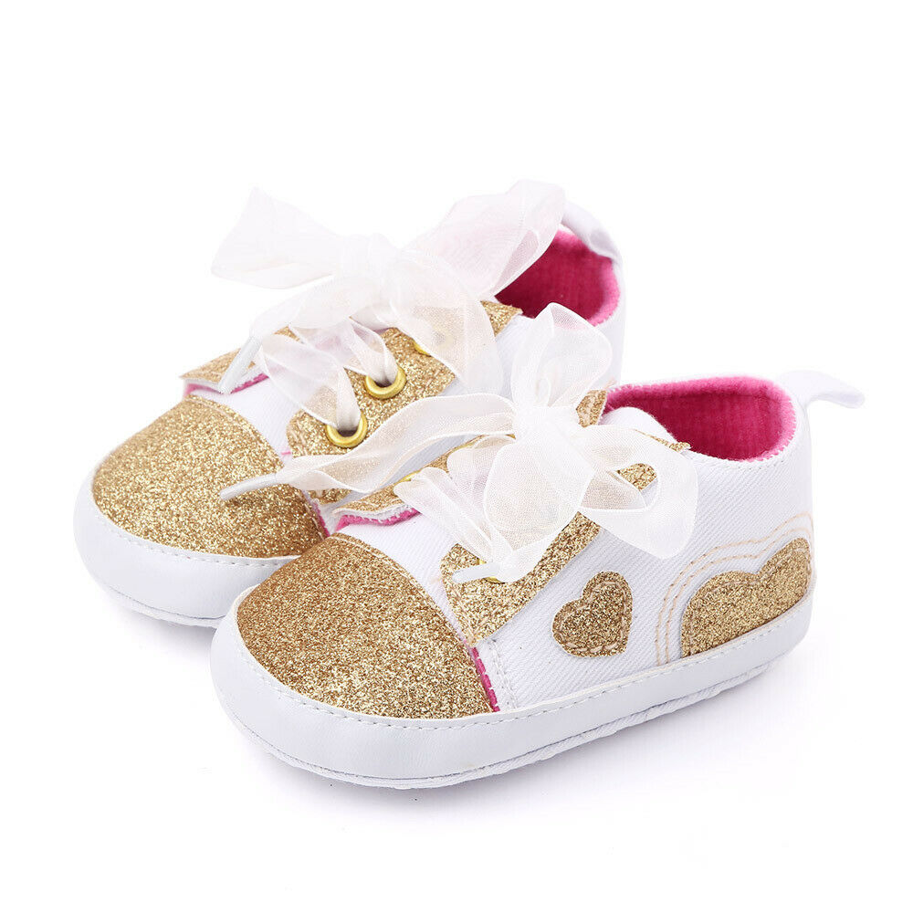 Newborn Baby Boys Girls Pre-Walker Soft Sole Pram Shoes Canvas Sneakers Trainers Pink White Rose Red Shoes 0-18M