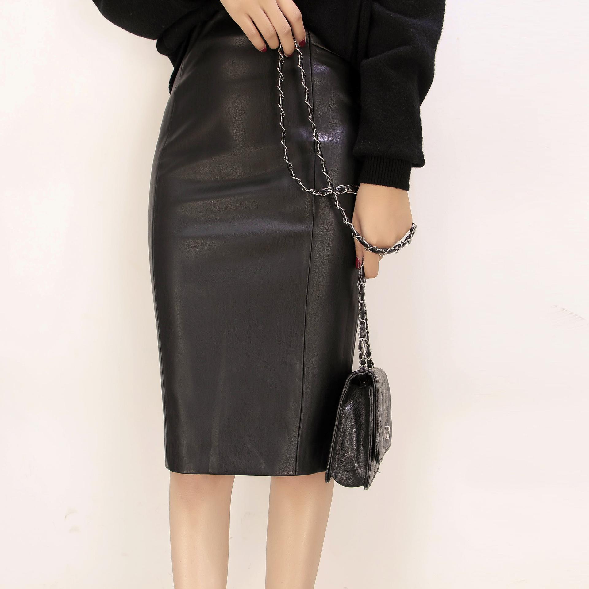 Sexy plus size S-XL cintura natural preto mid-calf saia de couro falso vermelho khaki saia fadas mujer