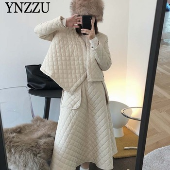 Women Winter warm jacket Cotton padded Casual High waist Cotton Long Skirt Fashion Solid color Female suit Newest YNZZU 9O136 casual style high waist solid color cotton blend skirt for women