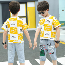 Kids Boy Clothes Set Summer 2020 Children Clothing Set Yellow Short Sleeve T-shirts   Denim Pants 2 Pcs Suit 3 Years Boy Clothes 2018 back to school outfits autumn kids clothing set girls clothes set children clothing suits long sleeve denim shirts jeans