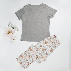 Image 2 - Pigiami per le donne del manicotto del bicchierino di estate delle donne pigiami degli indumenti da notte pigiama di cotone donne carino pigiama set donne pijama mujer verano