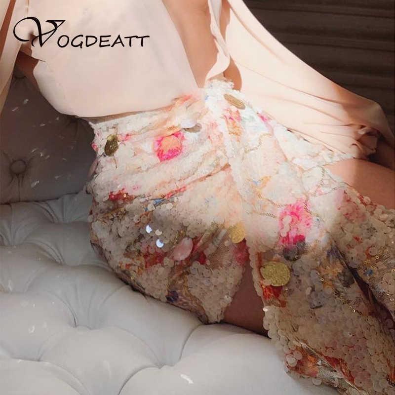 Sequin Bloemen Shell Rok Hoge Taille Luxe Dagelijkse Outfit Club Party Rokken Vrouwen Mode Zoete Voorste Drop Korte Bodem