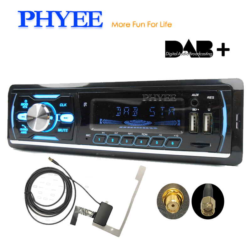 1 Din Car Radio DAB Plus RDS Bluetooth MP3 Audio Player A2DP Handsfree FM AM TF USB ISO Multi Color Lighting Head Unit PHYEE M4 image