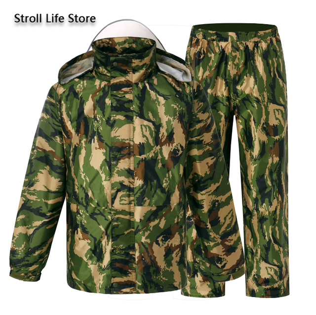 Camouflage Adults Motorcycle Raincoat Men Waterproof Suit for Fishing Male Waterproof Suit for Fishing Hiking Capa De Chuva Gift 4