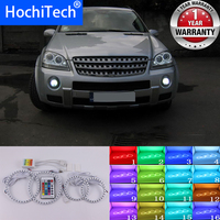 For Mercedes Benz M Class W164 2006 2007 High Quality Multi Color Angel Eyes LED RGB Headlight Halo Ring Set RF Remote Control