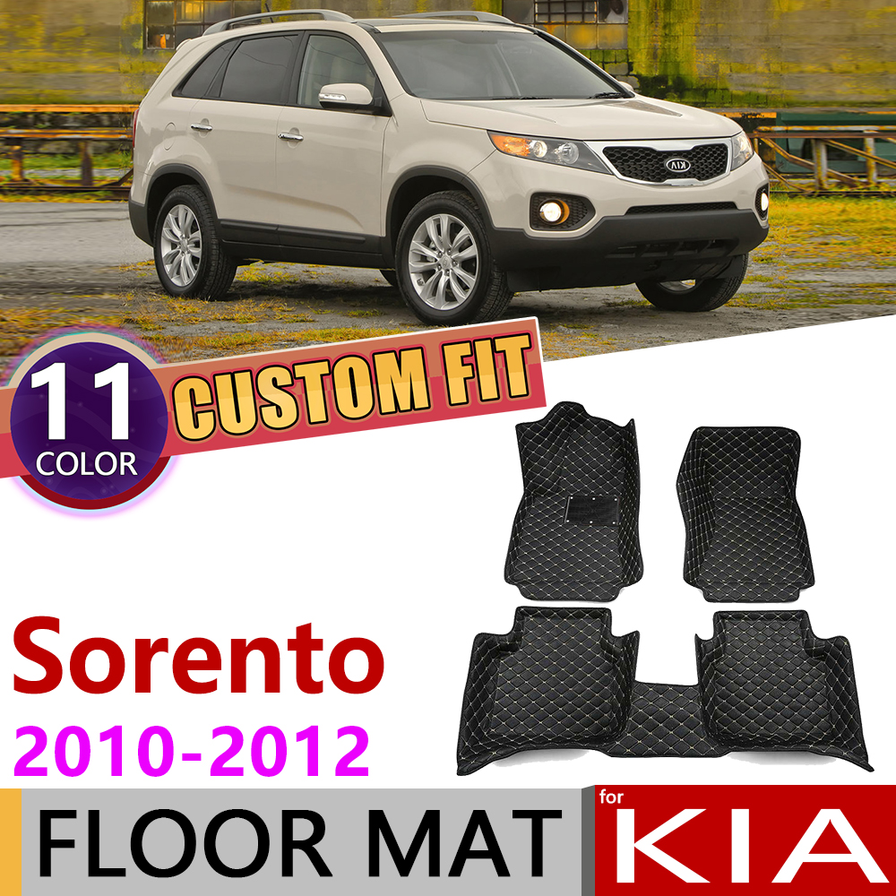 Custom Leather Car Floor Mats For Kia Sorento XM 2010 2011 2012 5 Or 7 Seats Auto Waterprool Mat Foot Pad Carpet Accessories