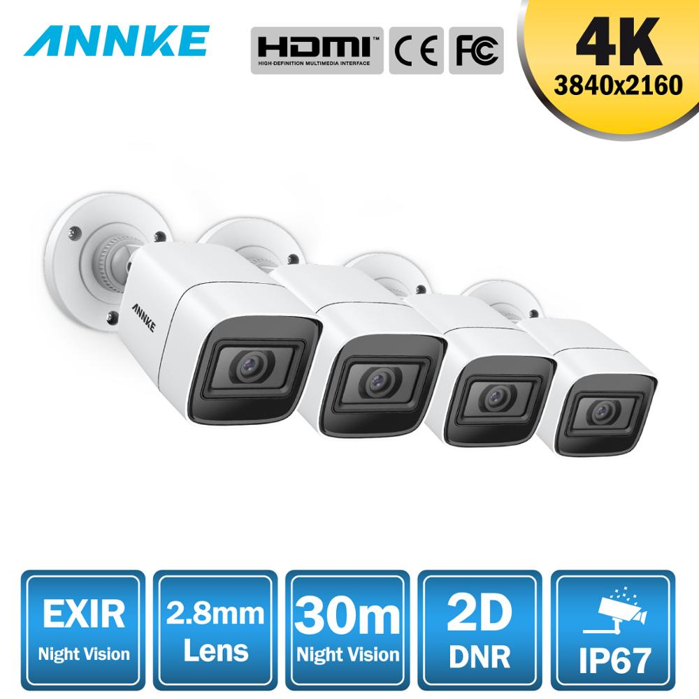 ANNKE 4pcs 4K HD IP67 Weatherproof Cameras Kit Indoor Outdoor Analog CCT Security Camera-in Surveillance Cameras from Security & Protection
