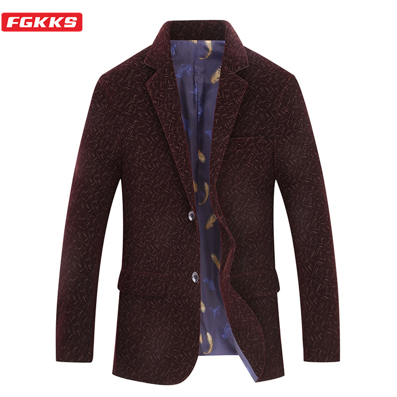 FGKKS Brand Men Blazers Spring Men's Comfortable Fabric Lined Feather Print Suit Fashion  Street Casual Retro Blazers Coat Male