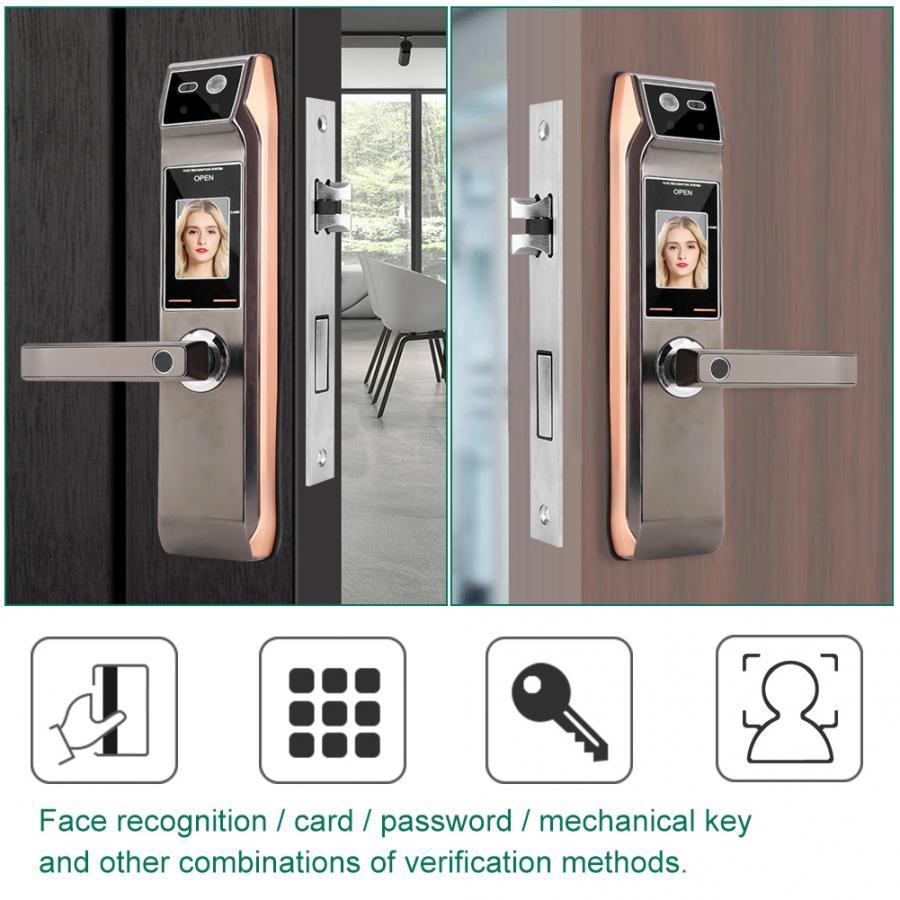 Распознавание лица смарт дверь вид отпечатков пальцев Электронный Keyless Пароль дверная ручка замок аксессуары для домашней безопасности