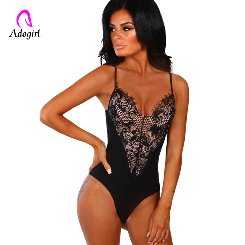 Black Lace Bodysuit Women Langerie Backless Transparent Sexy Body Jumpsuit Rompers 2019 Catsuit Bodysuits Slim Overalls Femme