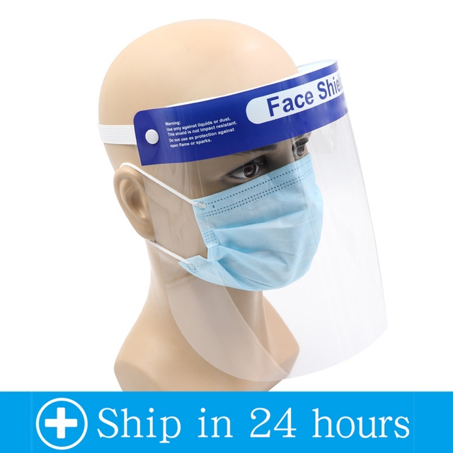 2/5/10pcs Protective Face Shield Reusable Full Face Protective Mask Splash-Proof eye safety Saliva Protection Clear Visor 4