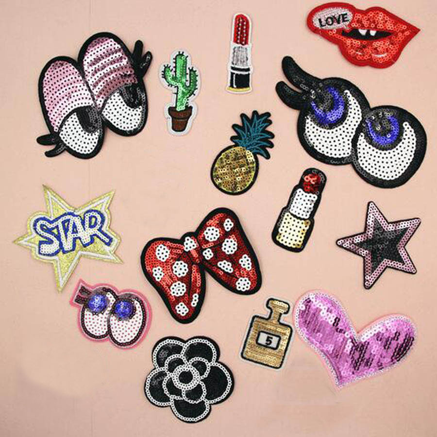 Sequined Clothes Appliques Iron-on Patches Embroidery Clothing Accessaries