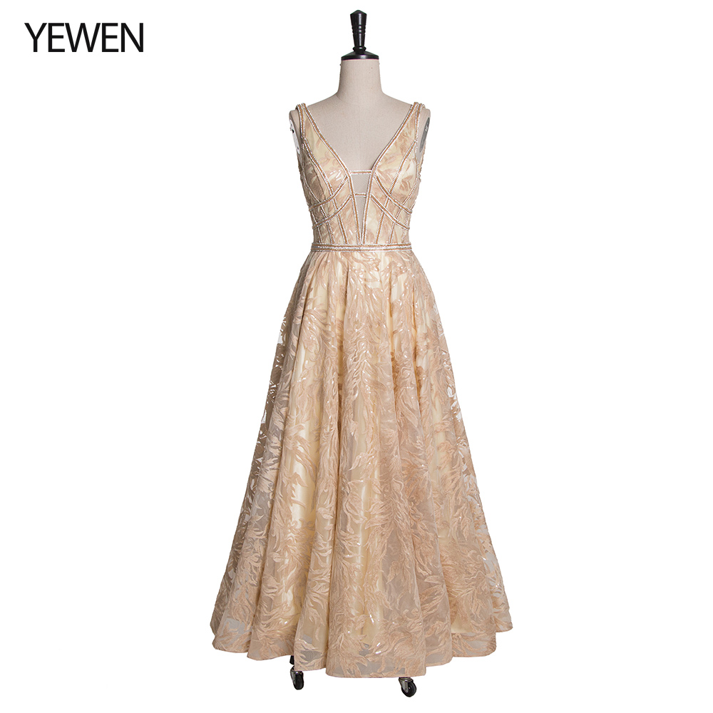 A-Line V-Neck Long Prom Dress 2019 Champagne Beades Bodice Party Dresses Women Evening Gown Deep Backless Real Picture