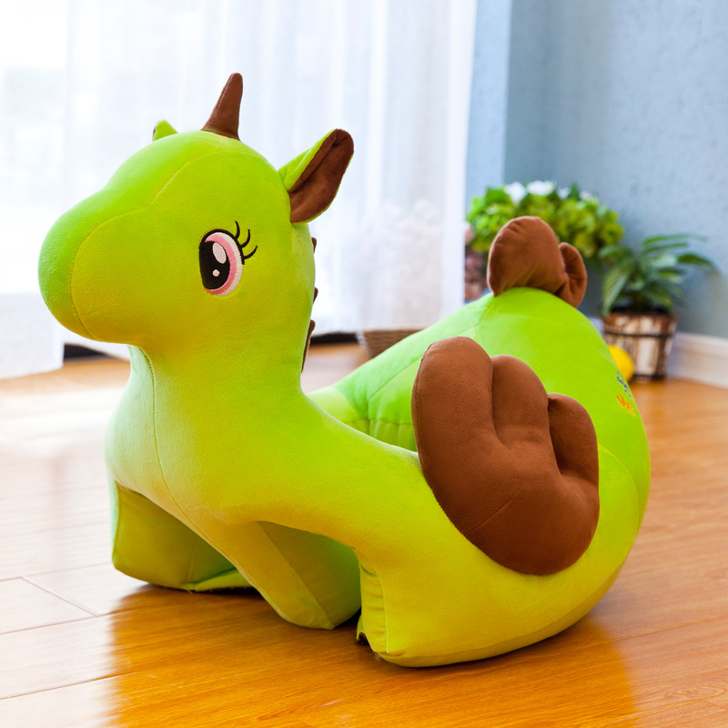 Hot Cartoon Rainbow Horse Plush Toy Doll Baby Learning Seat Baby Anti-fall Seat Small Sofa Cute Comfortable Seat