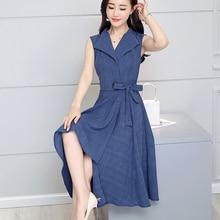 VZFF  2019 new fashion Summer Dress Sleeveless work OL women dress casual A-Lin v-neck Elegant vestidos de festa