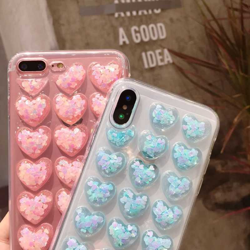 soft silicone 3D many heart bling Shining phone case for phone 6 6S 7 8 plus cover for iphone X XS Max XR shell TPU cute Funda