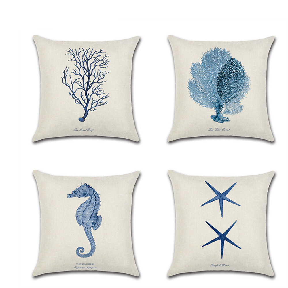 new hand painted seahorse starfish coral green red blue pillow covers modern nordic simple decorative sofa couch cushion covers