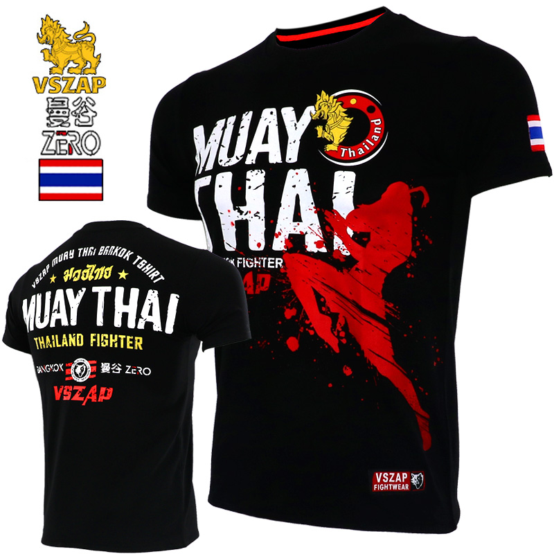 VSZAP Jerseys Short Sleeve T-shirt Combat Clothes Muscle Muay Thai Mma Cotton Kick Boxing Shirts