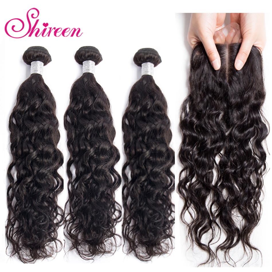 Shireen Water Wave Bundles With Closure 3 Bundles Human Hair Weave With Lace 4*4 Non Remy Peruvian Hair Bundles Hair Extensions
