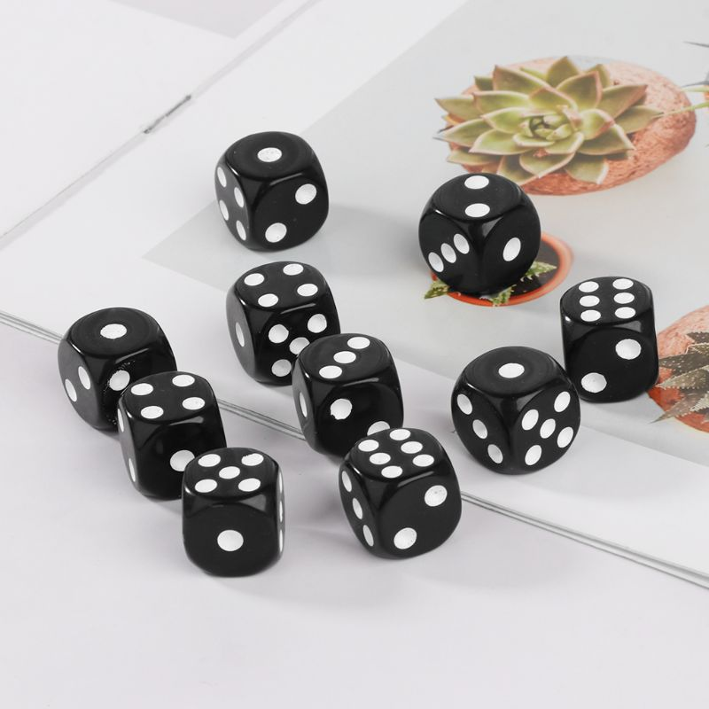 10pcs 16mm Acrylic Dice Black/White 6 Sided Casino Poker Game Bar Party