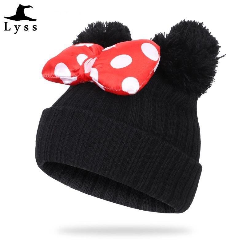 Cute Boys Girl Winter beanie Bonnet children knitting Wool Gorros Two Double Pom Pom skull caps Warm kids hair ball hats