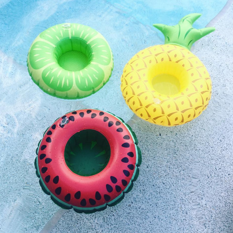 24 Styles Mini Fruit Shape Inflatable Water Swimming Pool Drink Cup Stand Holder Float Toy Coasters For Beverage Beer Bottle