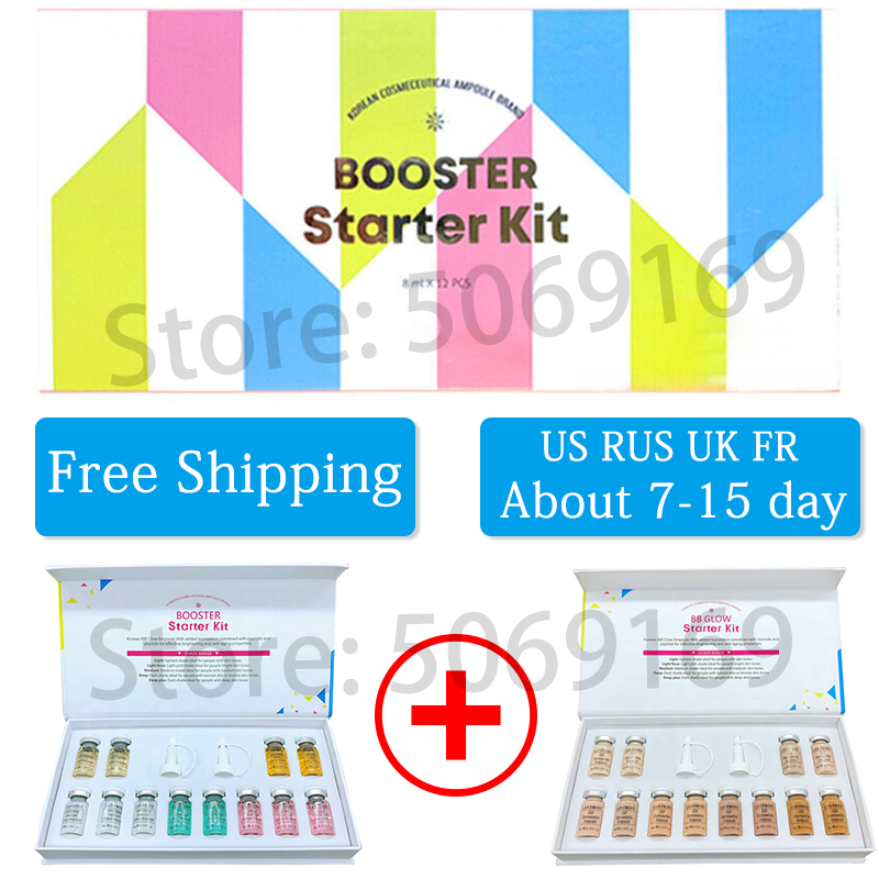 12pcs/box Derma white Booster Stayv e BB Glow Serum mix Kit with add foundation niacinamide for effective brightening anti aging-in BB & CC Creams from Beauty & Health