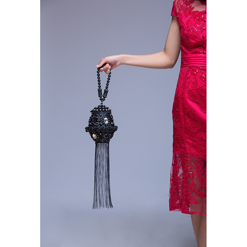 DOYUTIG, индийский стиль, женские клатчи ручной работы, стразы, бусины, дамские винтажные плетеные Длинные вечерние сумки с кисточками для свадьбы, F702 - 3