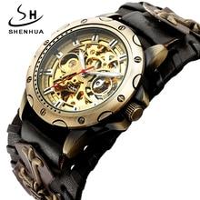 الرجعية البرونزية الهيكل العظمي التلقائي الميكانيكية ساعة الرجال القوطية Steampunk الذاتي لف ساعة اليد ساعات جلدية فريدة Reloj Hombre