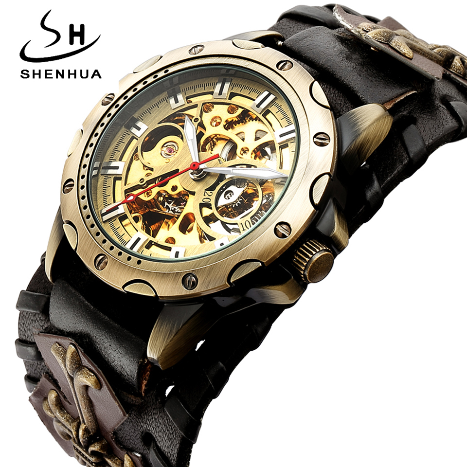 Retro Bronze Skeleton Automatic Mechanical Watch Men Gothic Steampunk Self Winding Wristwatch Unique Leather Clocks Reloj Hombre