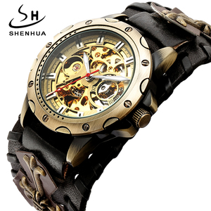 Image 1 - רטרו ברונזה שלד אוטומטי מכאני שעון גברים גותי Steampunk עצמי מתפתל שעוני יד ייחודי עור שעונים Reloj Hombre