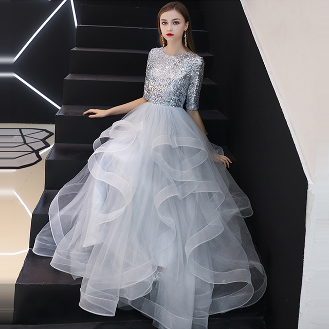 It's YiiYa Evening Dress 2019 Real Sequins Half Sleeve Tiered Hems Evening Gowns Gray Party Dresses LX1398 robe de soiree 4