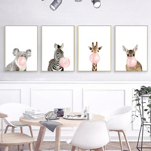 Nordic Style Kids Decoration Wall Art Canvas Painting Baby Room Decor Cartoon Animals Pictures For Living Unframed