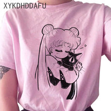 Sailor Moon T Shirt Women Funny Pink Harajuku Aesthetic TShirt Fashion Kawaii Graphic Ullzang New T-shirt Female Top Tee 90s