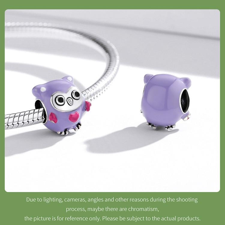 purple owl 925 Sterling Silver Cute Enamel Cartoon Charm Purple Fun Owl Bead Panda Deer Bead Rainbow Bird Pendant for Bracelet DIY