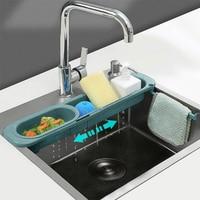 Escurridor telescópico para fregadero de cocina, soporte de esponja para jabón, organizador ajustable, cesta de almacenamiento de cocina, accesorios