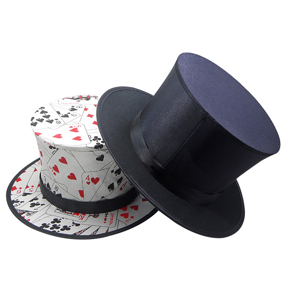 Poker Pattern Folding Spring Magicians Hat High End Props Classic Magic Tricks