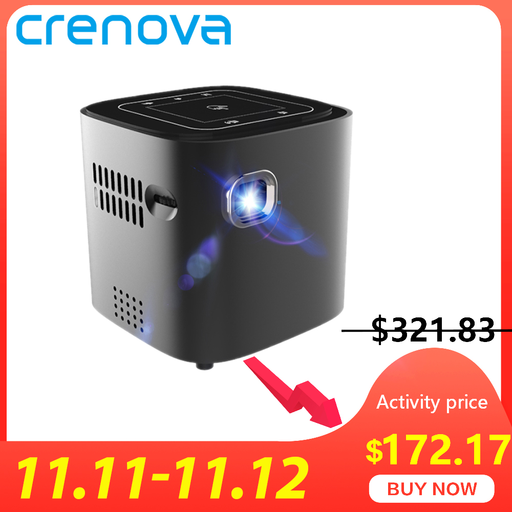 CRENOVA 2019 Newest Mini Projector For Full HD 1080P Android 7.1.2 OS Portable DLP Projector With WIFI Bluetooth Battery Beamer-in LCD Projectors from Consumer Electronics