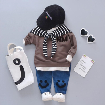 Spring Autumn Baby Cotton Clothing Sets Fashion Children Girls Boys Fake Scarf T-shirt Jeans 2 Pcs/Sets Kid Casual Tracksuits budingxiong 2018 brand children sets fashion ripped kids jeans unisex clothes spring autumn children s wear boys girls jeans