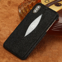 Genuine Stingray Leather Case For Iphone X Xr 7 Plus Cell Phone Case For Iphone Xs Max 8 Plus Protective Cover For 6 6s 5 5s Se black cover japanese samurai for iphone x xr xs max for iphone 8 7 6 6s plus 5s 5 se super bright glossy phone case