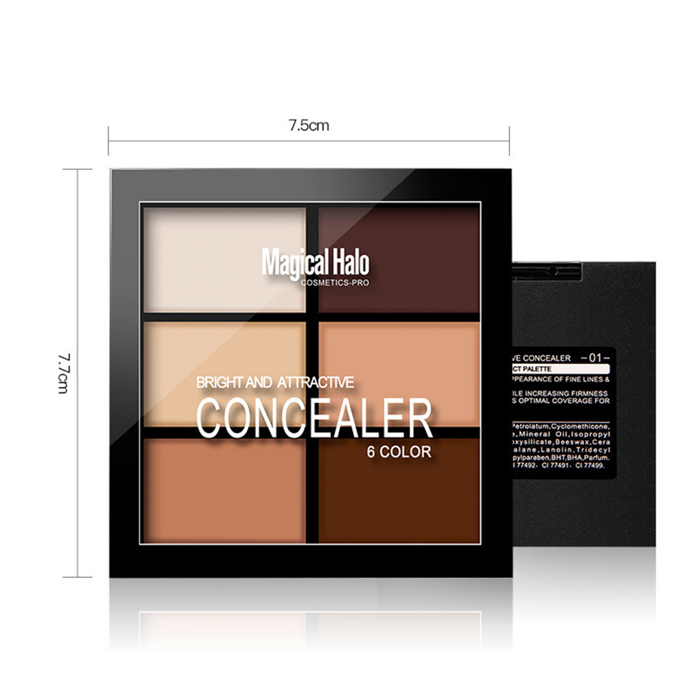 Magical Halo 6 Colors Concealer Cream Contour Palette Kit Professional Makeup Bronzer Highlighter Powder Trimming Face Brighten image