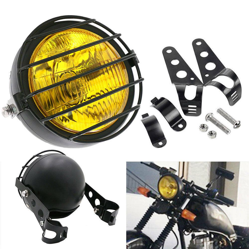 5 Inch Retro Motorcycle Headlight Grill Side Mount Cover With Bracket Motorbike Assembly Amber Headlamp Mounting Screws