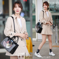 South Korea New Style Sweet Commuting 2019 Spring Lim Yoona Star Trench Coat Mid length Slim Fit Lace up Overcoat
