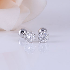 Image 2 - Transgems 14K 585 White Gold  0.5CTW 4mm F Colorless Moissanite Stud Earring with Accents Ball Screw Back for Women Fine Jewelry