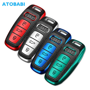 TPU Leather Car Key Cover For Audi Q8 2020 Allroad Quattro A4 A5 A6 A7 Smart Remote Fob Shell Case Keychain Holder Protector Bag new soft tpu car remote key case full cover holder shell for tesla model s model 3 auto smart key bag protector fob accessories