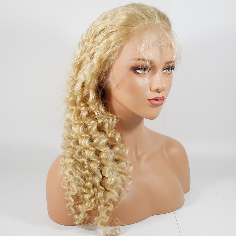 Brazilian Blonde 613 Deep Wave Lace Front Wigs 13*4 Human Hair Wigs Medium Size With Baby Hair Remy Human Hair 613 Wigs For Women