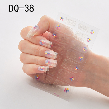 14pcs/sheet Glitter Gradient Color Nail Stickers Nail Wraps Full Cover Nail Polish Sticker DIY Self-Adhesive Nail Art Decoration 77