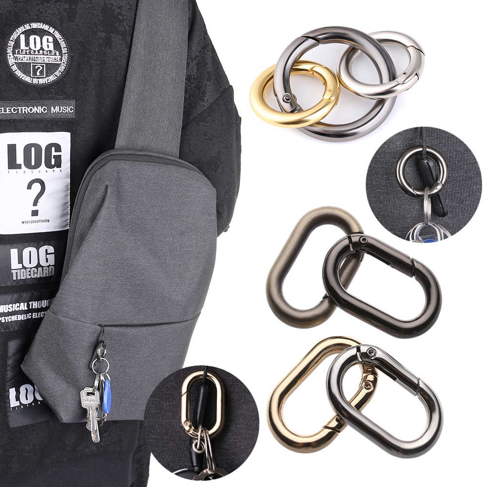 5PCs Zinc Alloy Plated Gate Spring O-Ring Oval Ring Buckle Outdoor Carabiner Purses Handbags Clips Round Push Trigger Snap Hooks
