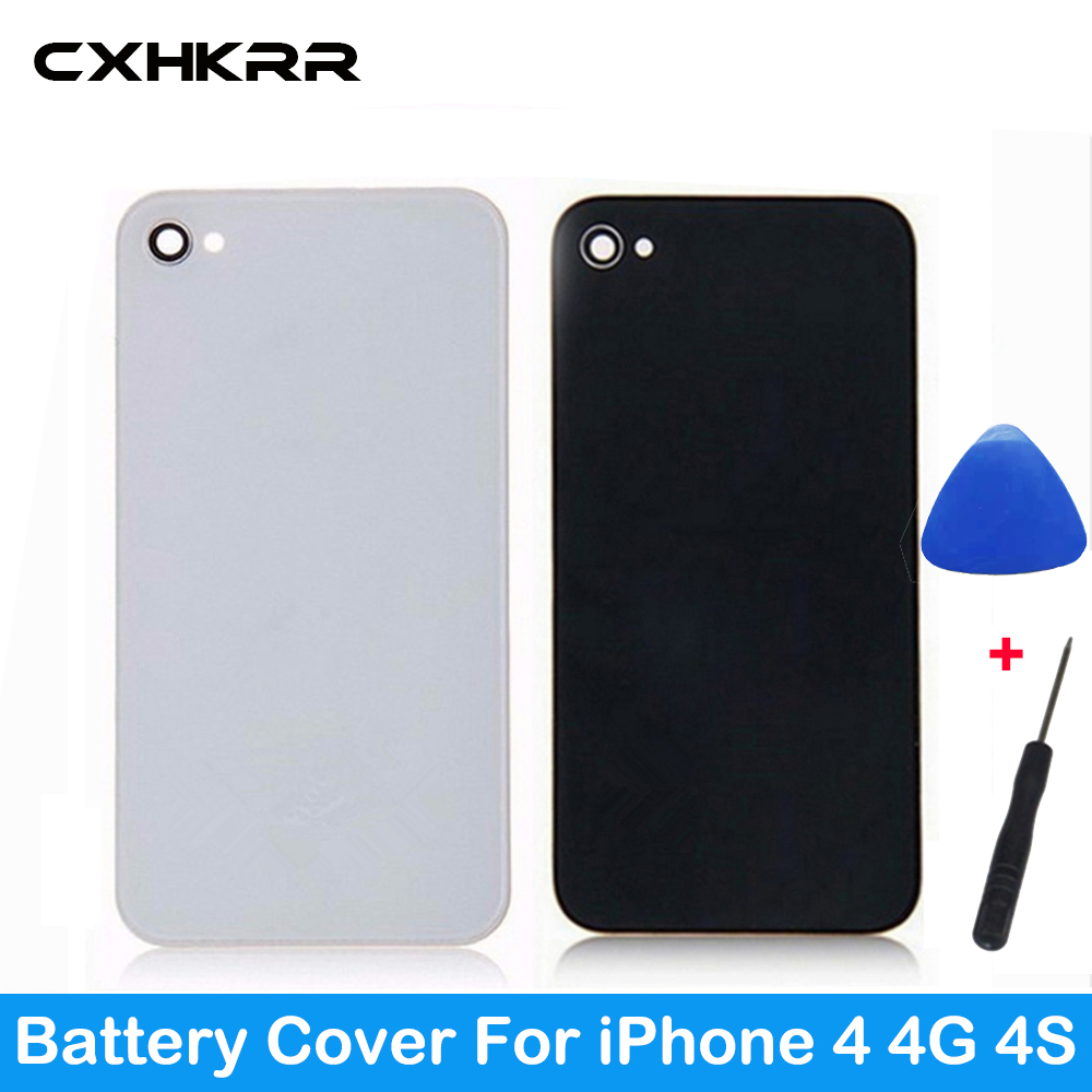 CXHKRR High Quality Battery Cover For IPhone 4 4G 4S Back Cover Door Rear Panel Plate Glass Housing Replacement White Tools